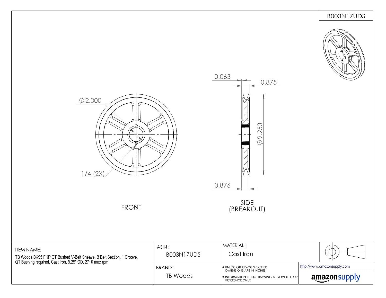 Cast Iron 4770 max rpm B Belt Section 5.25 OD TB Woods BK55 FHP QT Bushed V-Belt Sheave 1 Groove QT Bushing required