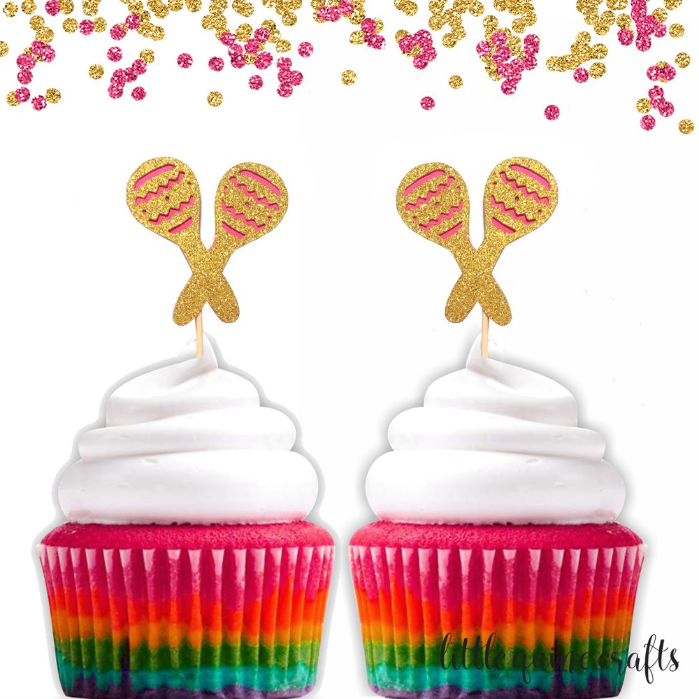 12 pc maracas cupcake topper green gold glitter fiesta party theme birthday baby shower wedding Bachelorette party