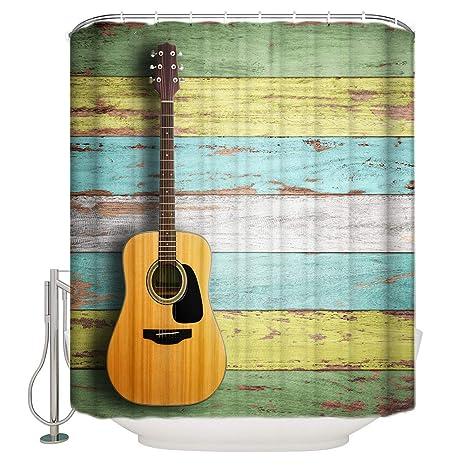 YEHO Art Gallery 78 X 84 Inch Fabric Washable Bathroom Shower CurtainRetro Guitar Wood