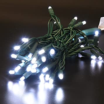 50 Count 5mm Wide Angle Led Christmas Lights Set Outdoor Led String Lights For Christmas Decoration 17feet Green Wire Cold White