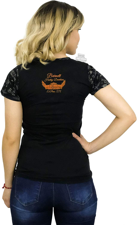 Harley-Davidson Womens Infinite Tour Winged #1 Black Short Sleeve T-Shirt