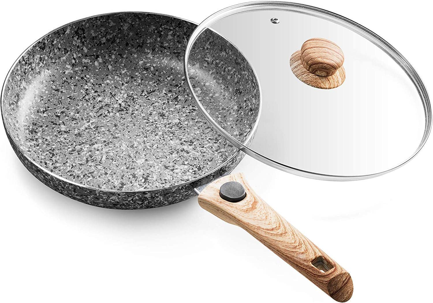Mitbak 10-Inch Non-Stick Frying Pan with Lid   Granite Coating Nonstick Skillet Pan with Removable Heat-Resistant Handle   Premium Cooking & Kitchen Utensil   Induction Compatible
