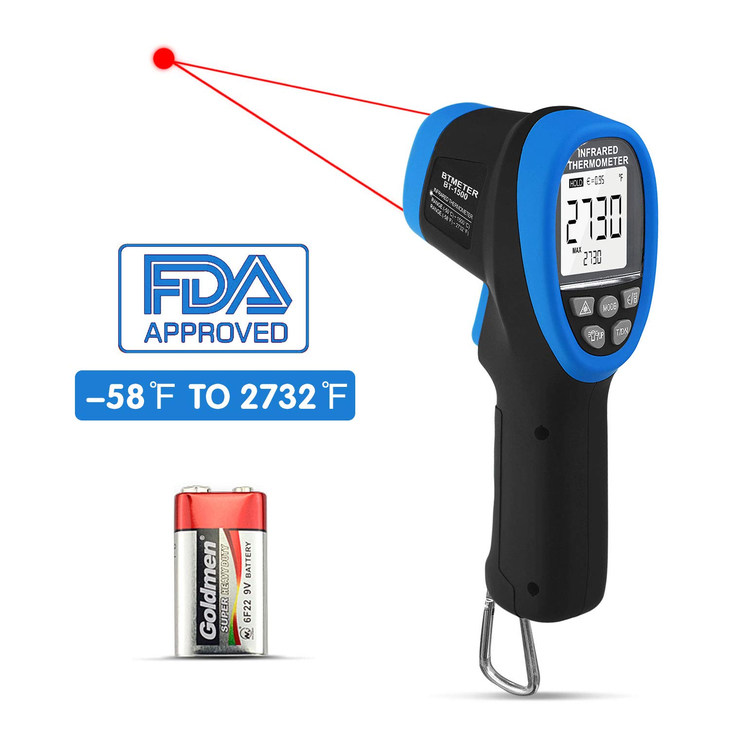 BT-1500 BTMETER BT-1500 Infrared Thermometer Gun 30 1 Digital High Temp Pyrometer, IR Temperature Tester -58℉ - 2732℉ (-50℃ to 1500℃) Dual Laser Pointerswith Flashlight FDA for Kiln Forge Foundry Casting