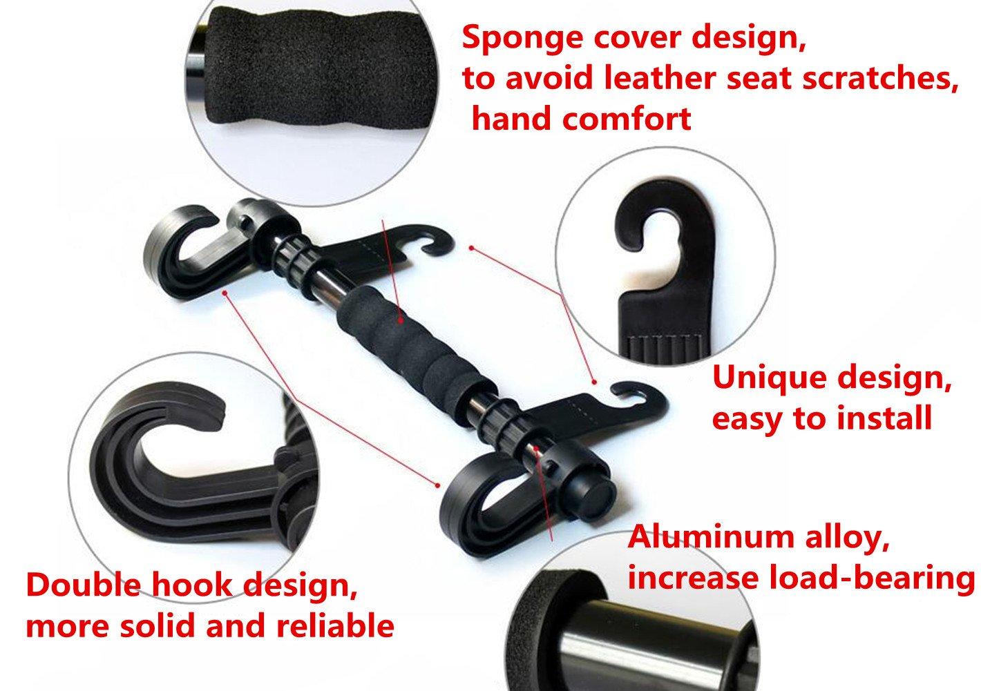 Happyit Car Hooks Double Hook with Armrests Vehicle Back Seat Headrest Hanger Hidden Holder Hook for Bag Purse Cloth Coat Grocery