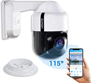 SUNBA 305-D4X PTZ PoE+ 3MP Mini IP Security Camera with Built-in Audio, 4X Optical Zoom, Auto Focus, Human-Shape Detection, Support TF Card, Indoor/Outdoor and Night Vision up to 150ft