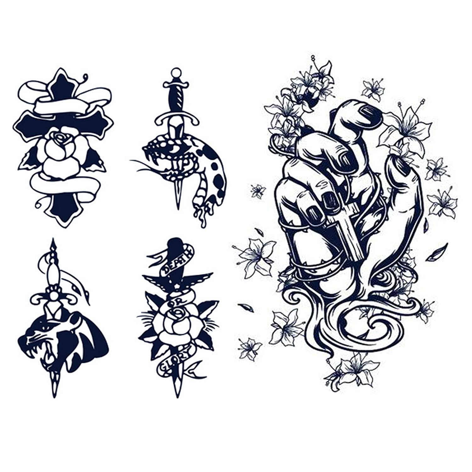 2 combination plant semi permanent tattoo stickers, cross, skull, small pattern, flower, dark temporary tattoo stickers, suitable for adults, girls and boys, lasting for 1-2 weeks, natural fading (A)