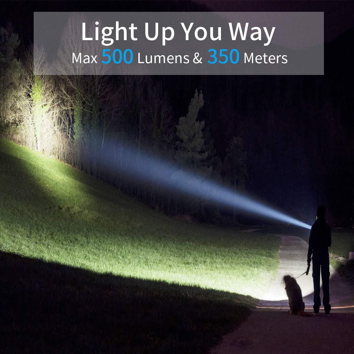 Morpilot Torcia LED Ricaricabili USB Impermeabile Torcia LED Potente e Tascabile per Campeggio, Escursionismo, Passeggiate Notturne, Attività all\'Aperto e Interni come Casa, Ufficio, Lavoro ( Ricaricabile 18650 Batterie Compresa)scabile