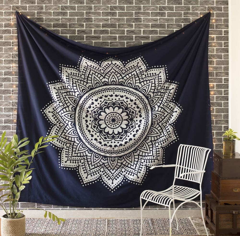 Madhu International Mandala Tapestry Wall Hanging Psychedelic Hippie Bohemian Tapestries Indian Bedding Wall Decor (Blue Silver, Twin(54x82Inches)(140x210cms))