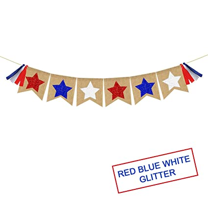 Amazon Com Red White Blue Stars Banner Garland Patriotic