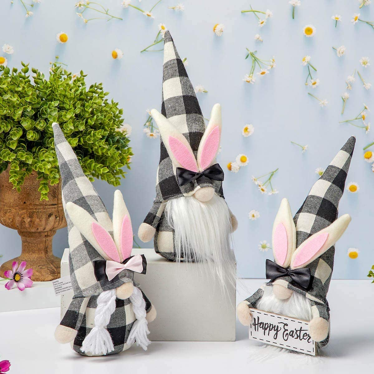 Bunny Gnome Collection Gift Decor - Farmhouse Easter Spring Decor, Tiered Tray Gnomes, Easter Gnome Tray Decorations, Easter Gift Home Decor, Set of 3