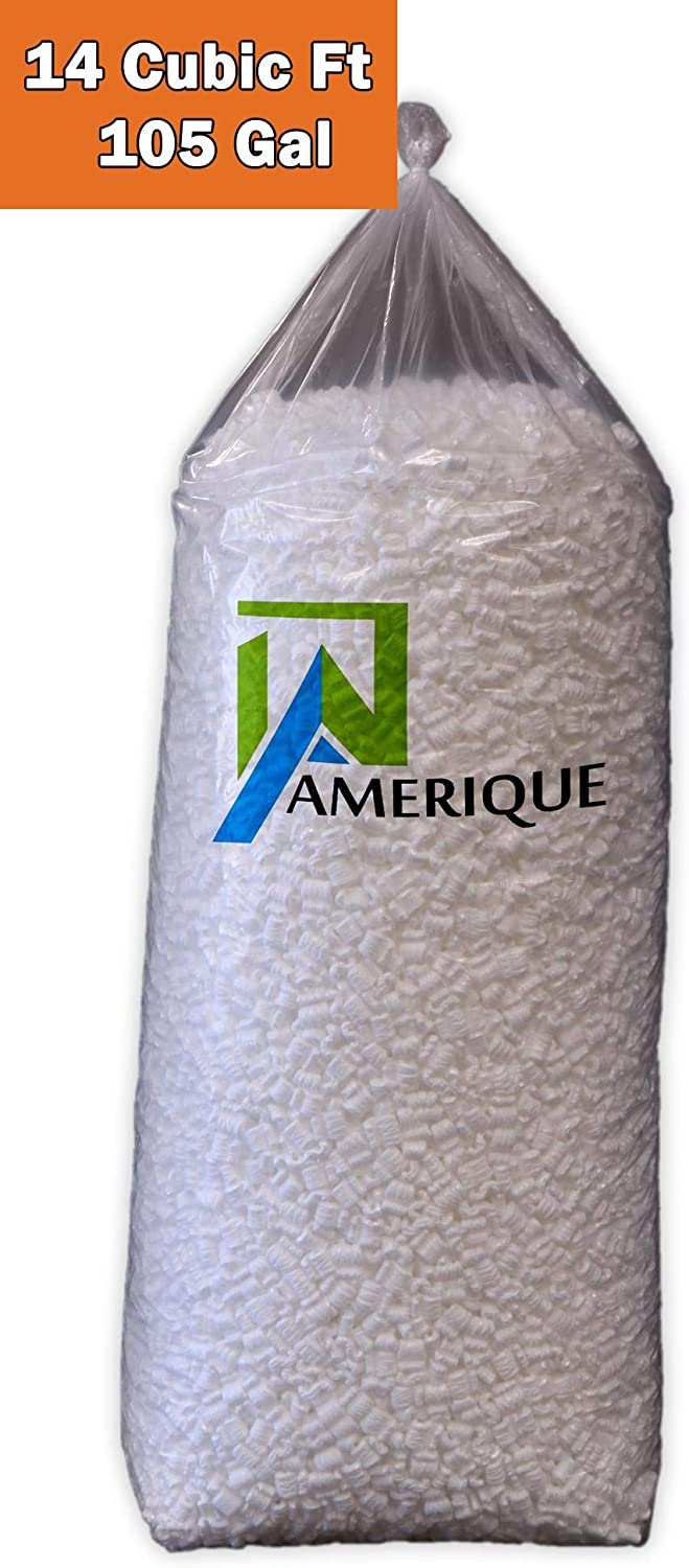 Cubic Feet Polystyrene Anti-Static Loose Fill Dustless S-Shaped Packing Peanuts 105 Gallons White AMERIQUE 691322304435 14Cu.Ft 14 Cb.Ft.//Bag, 105 Gal Foot