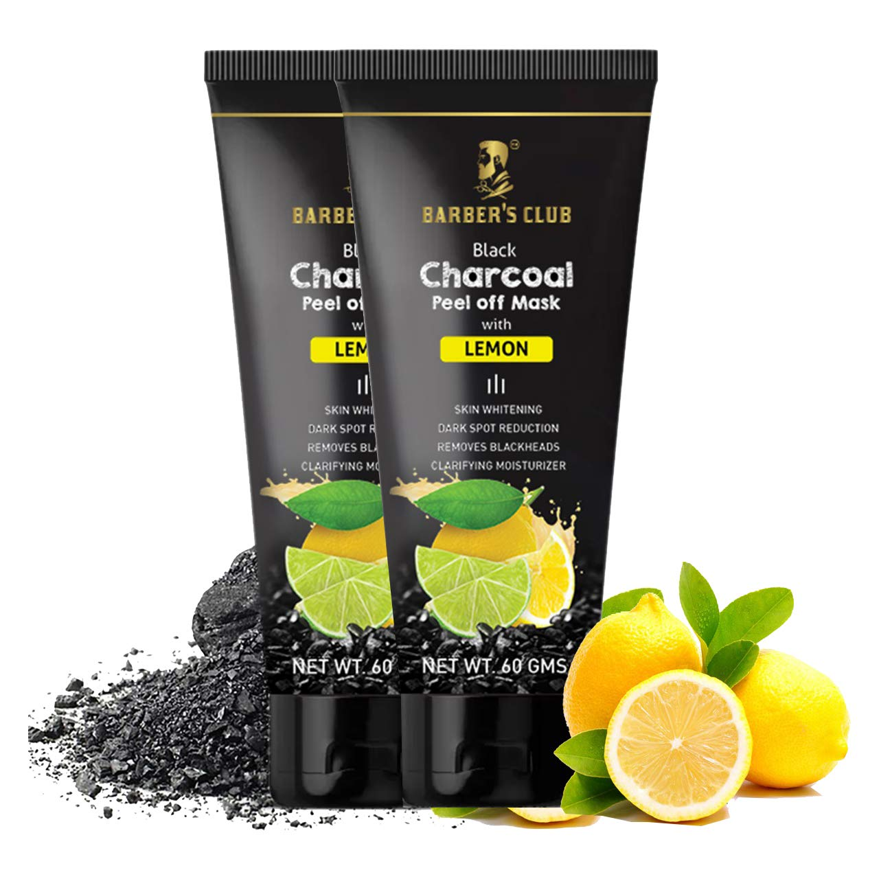 Barber's Club Black Charcoal Peel Off Mask with Lemon - 60 gms - Pack of 2
