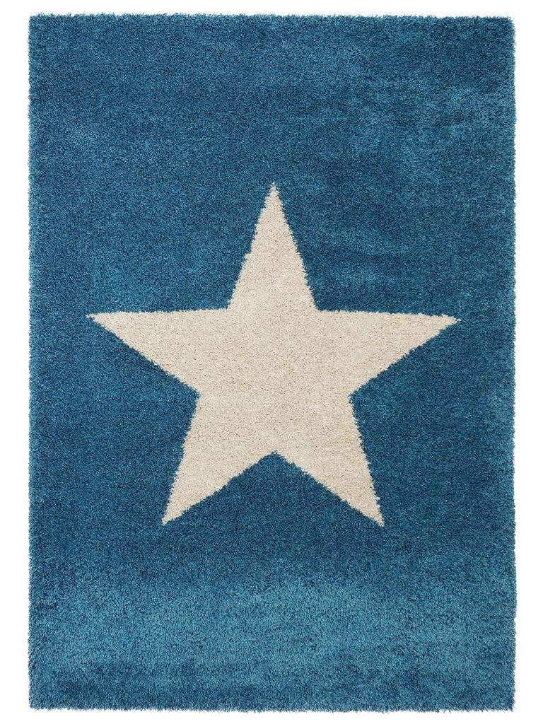 Benuta Shaggy Hochflor Teppich Graphic Star Blau 120x170 cm   Langflor Teppich für Schlafzimmer und Wohnzimmer