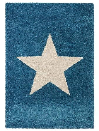 Benuta Shaggy Hochflor Teppich Graphic Star Blau 80x150 Cm