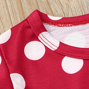 YWLINK Mezcla De Algod/óN Camiseta De Manga Corta con Estampado De Lunares En La Parte Superior De Los Ni/ñOs+Falda Plisada De Lunares Conjunto De Dos Piezas Ropa Casual Conjuntos Bautizo Bebe Regalo
