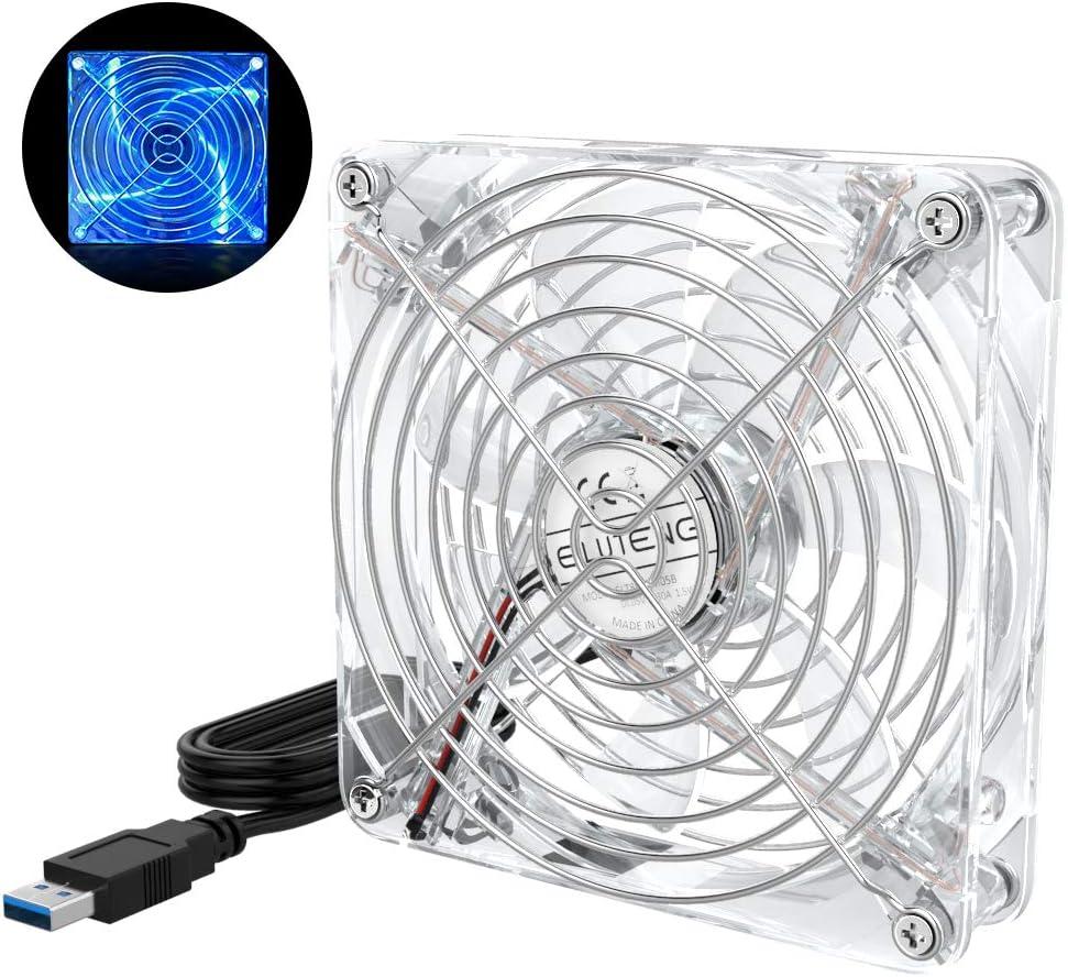 ELUTENG Ventilador de Escritorio con luz LED Azul Radiador de Refrigeración de 120 mm, Ventiladores USB, USB, Transparente, Rejilla de Metal, Compatible con PC/AV/PS4/XBox/Router