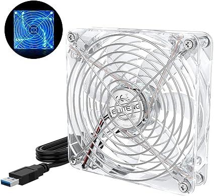 ELUTENG Ventilateur USB 5V 120mm Silencieux Ventilateurs PC USB Fan avec Grille Métal Ventilateur Ordinateur 12 cm pour PCTV BoxMeuble AV PS4