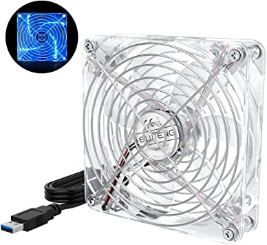 ELUTENG Ventilador de Escritorio con luz LED Azul Radiador de ...