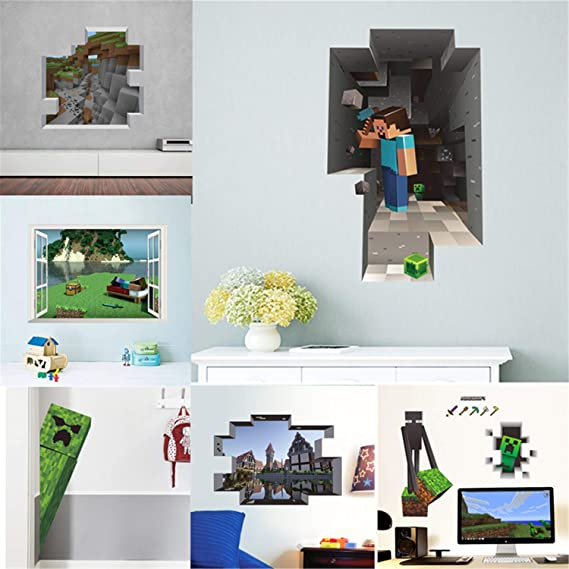 Cartoon Game Minecraft 3d Wall Stickers For Kids Rooms Mural Poster Home Decor Wall Decals Poster 1434 Eventerservice Com