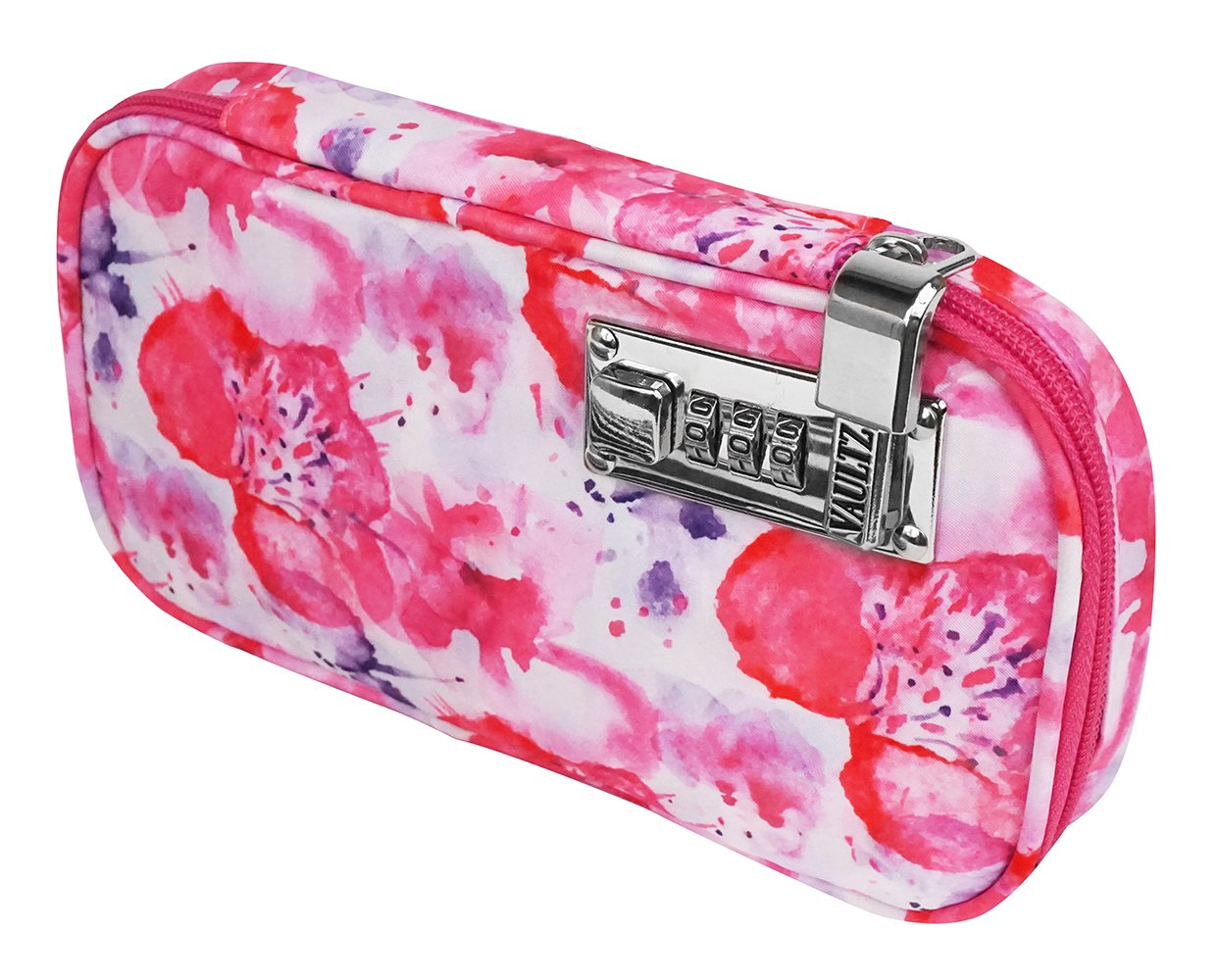 Vaultz VZ03804 Locking Large Travel Jewelry Case, Soft-Sided Organizer with Combination Lock, 5 x 1.5 x 9 Inches, Floral