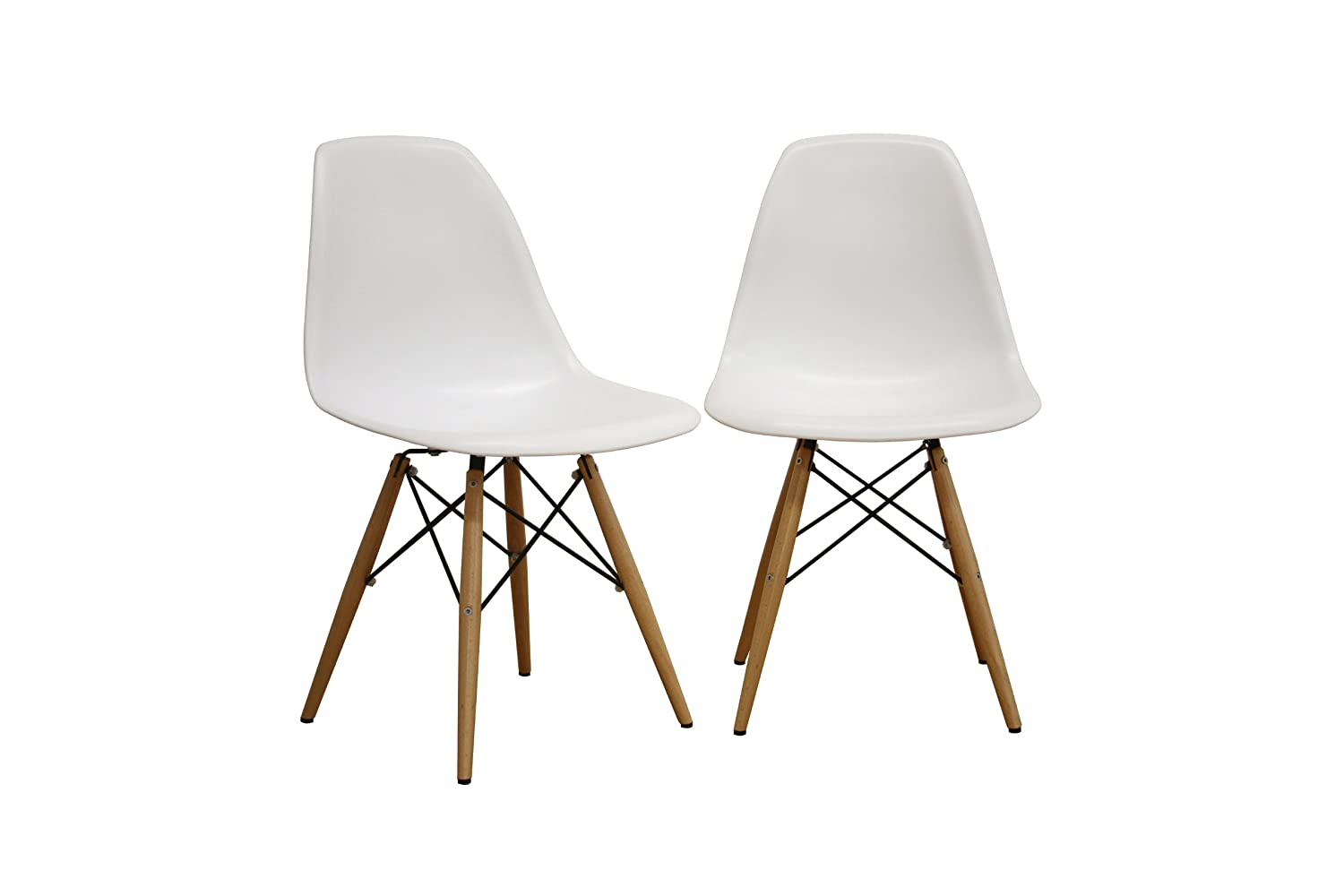 Eames chair white plastic - Amazon Com Baxton Studio Lac Plastic Side Chair Set Of 2 Kitchen Dining
