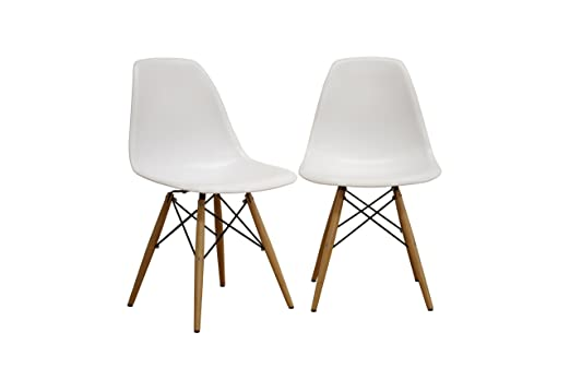 amazon com baxton studio lac plastic side chair set of 2 kitchen