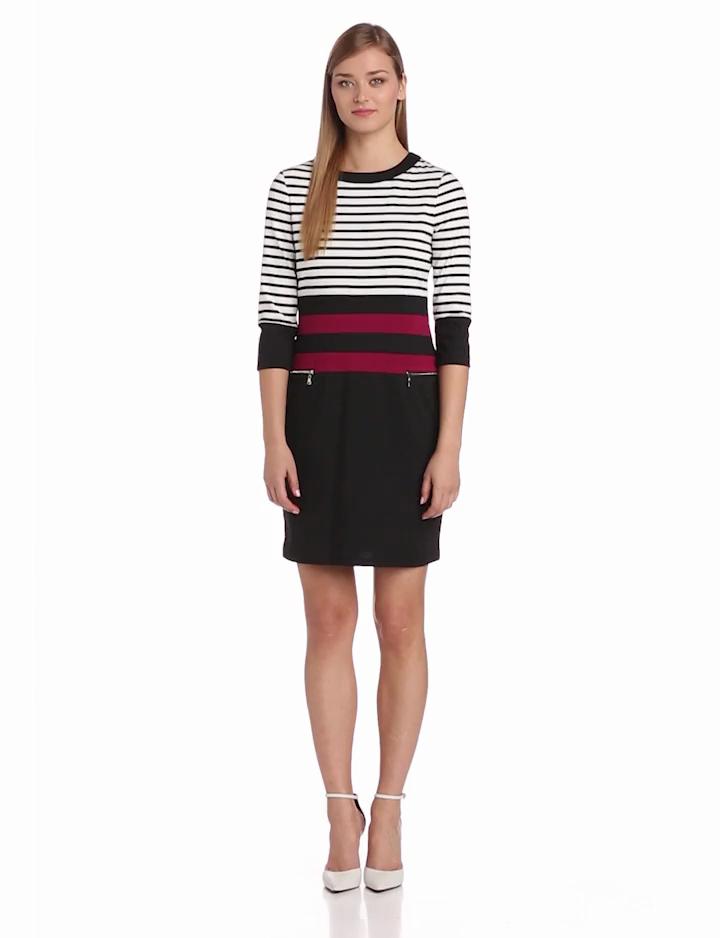 Sandra Darren Womens 3/4 Sleeve Colorblock Dress