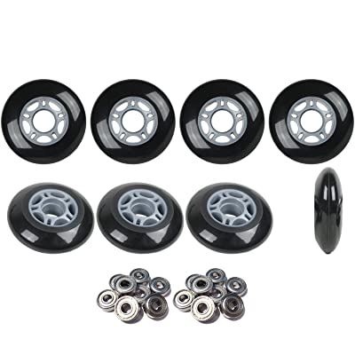 Player's Choice Inline Skate Wheels Hilo Set 76mm 80mm 82A Black Outdoor Hockey -ABEC 5 Bearings : Sports & Outdoors