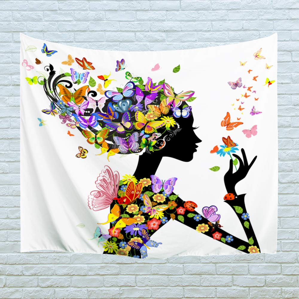XINYI Home Wall Hanging Nature Art Polyester Fabric African Woman Theme Tapestry, Wall Decor for Dorm Room, Bedroom, Living Room, Nail Included - 90'' W x 71'' L (230cmx180cm) - Butterfly Girl