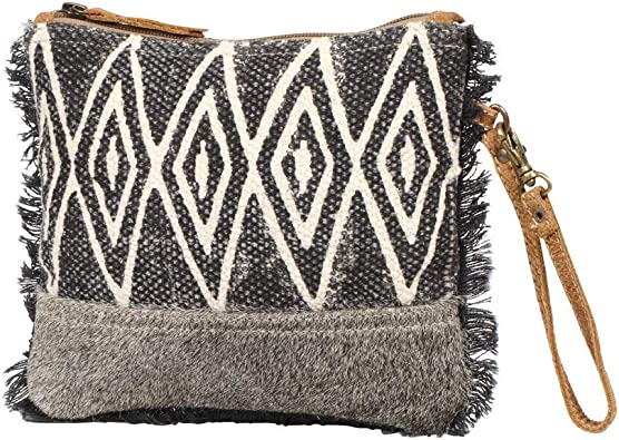 Myra Bag Second Impression Upcycled Canvas Cowhide Leather Wristlet Pouch Bag S 1261 Handbags Amazon Com Popular hand bag with fringe of good quality and at affordable prices you can buy on aliexpress. myra bag second impression upcycled canvas cowhide leather wristlet pouch bag s 1261