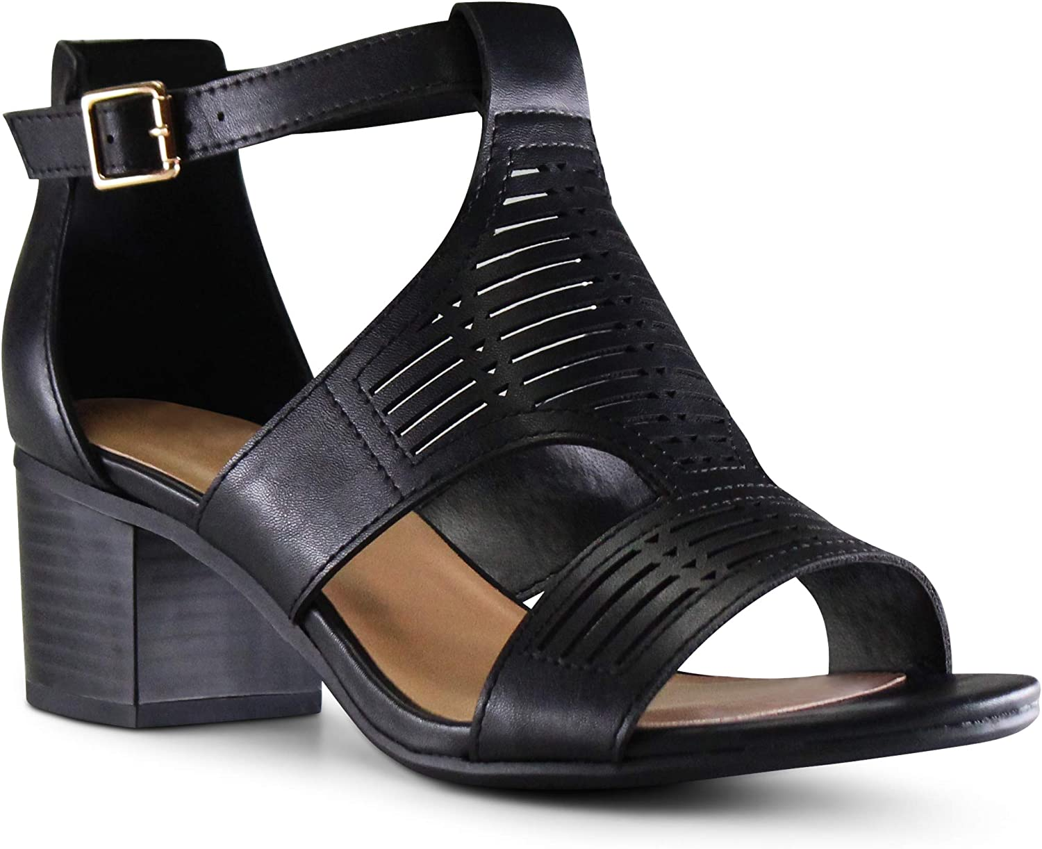 MARCOREPUBLIC Norway Womens Open Toe Perforated Laser Cutout Caged Chunky Heels Dress Sandals