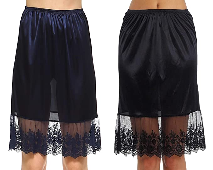 "824f463023ca Melody Women Single lace Satin Underskirt Half Slip Skirt Extender -  21"" Length (Small"