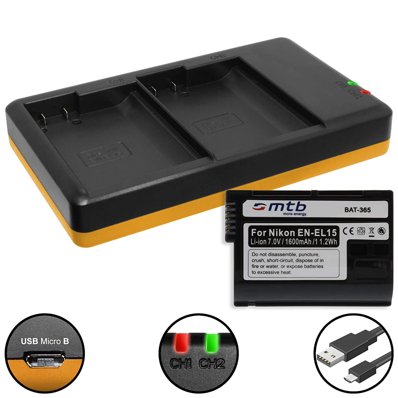 Batería + Cargador Doble (USB) para EN-EL15(A) / Nikon 1 V1, D500 ...