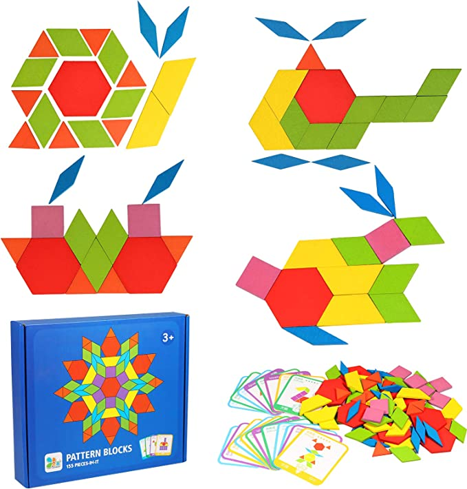 155 Pcs Wooden Pattern Blocks Set Aiduy Tangram Geometric Shape Puzzle With 24 Pcs Design Cards For Toddlers Ages 3 Educational Learning Preschool Toys For Kids Amazon Ca Toys Games