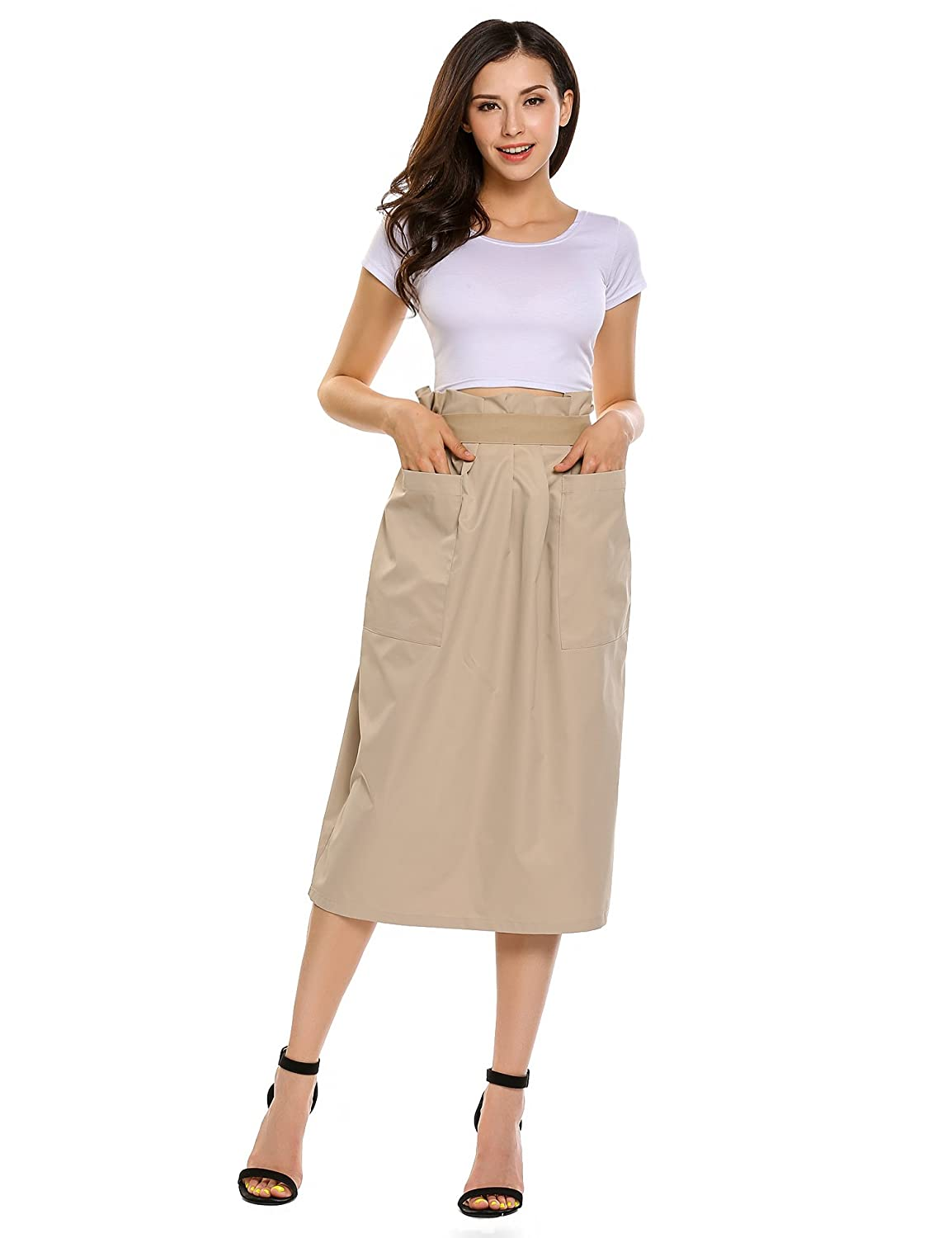 bbc10c1b094e Zeagoo Women's High Waist Stretch Pleated Casual Maxi Skirts Long Skirts  with Pocket at Amazon Women's Clothing store:
