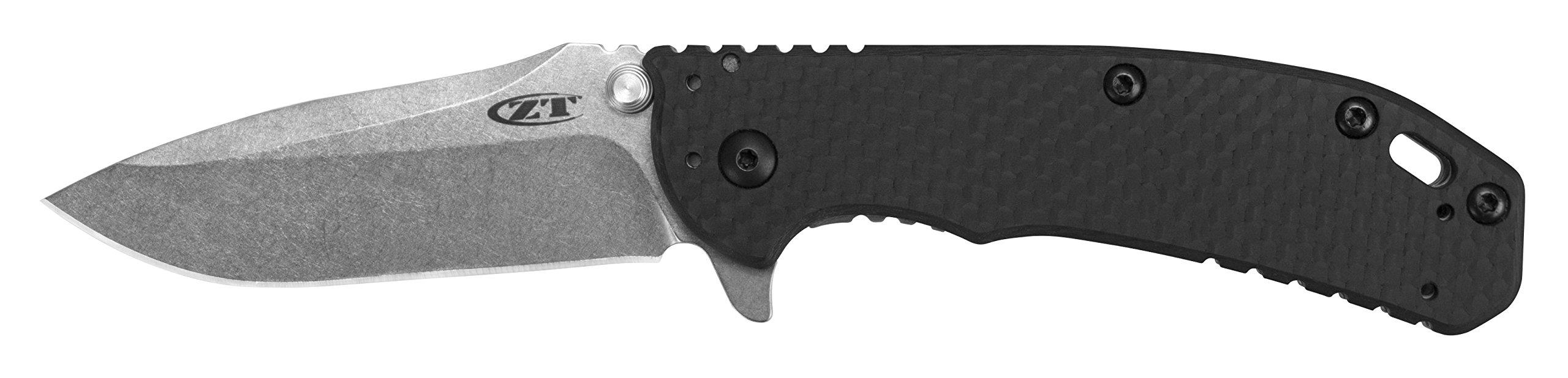"""Zero Tolerance Hinderer Carbon Fiber Folder (0566CF); 3.25"""" Stonewashed S35VN Steel Blade; Carbon Fiber Front, Steel Back Handle Scales; SpeedSafe Opening, Frame Lock, Quad-Mount Pocketclip; 5.3 OZ by Zero Tolerance (Image #2)"""