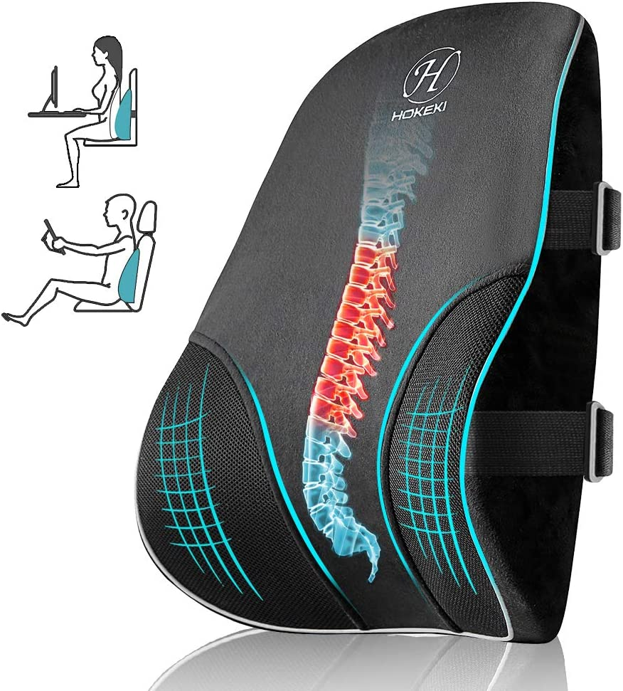 HOKEKI Lumbar Support Pillow with 3D Breathable Mesh Cover for Back Support Pillow,Pure Memory Foam for Back Pain Relief,Suitable for Office Chair, Car Seat, Gaming Chair and Wheelchair - Black