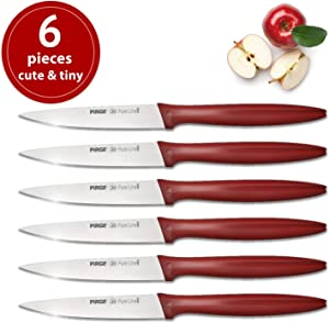 """Paring Knife Set of 6, Classic Pairing Knives, Small Kitchen Knife Fruit Vegetable Tomato Knife 3.5"""" Inch Utility Small Straight Edge Spear Point"""