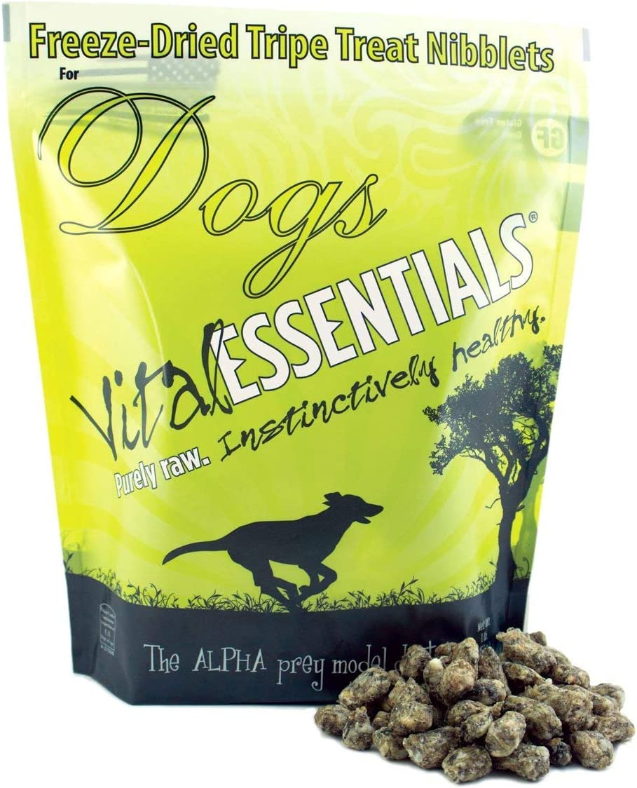Vital Essentials Freeze-Dried Beef Tripe Nibblets Grain Free Limited Ingredient Dog Treats, 1 Pound Bag
