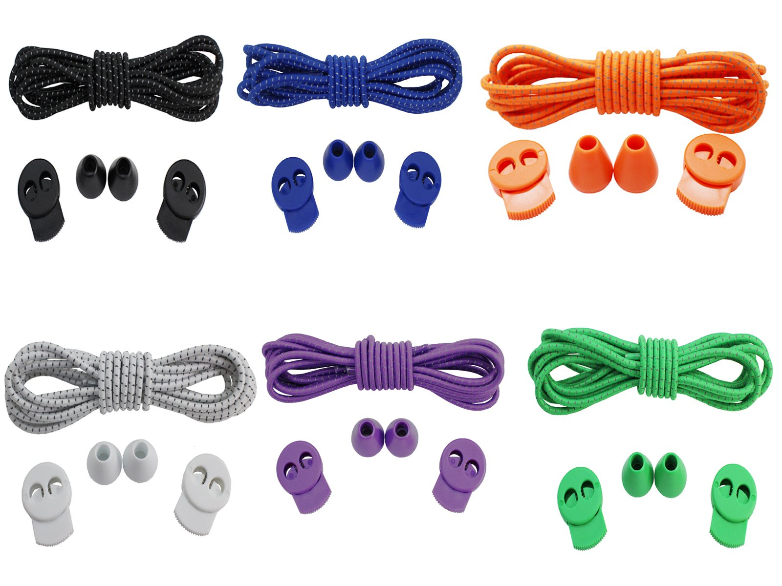 JESEP 6 Pairs of No Tie Elastic Shoelaces for Sports and Outdoor Activities, Elastic and Reflective Laces with Lock (Color 1)
