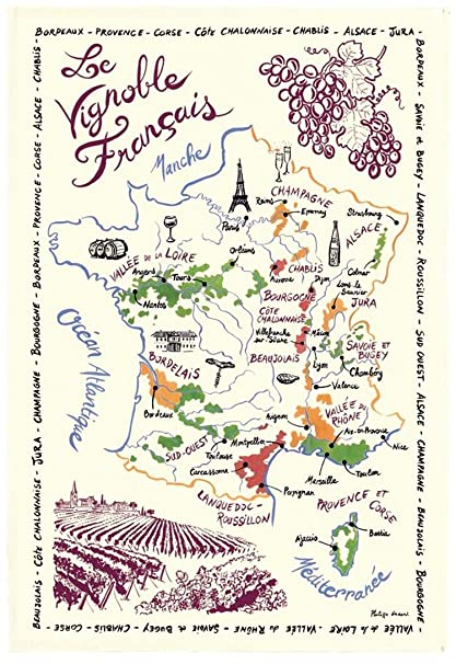 Wine Region Map Of France.French Wine Map Tea Towel By Torchons Et Bouchons