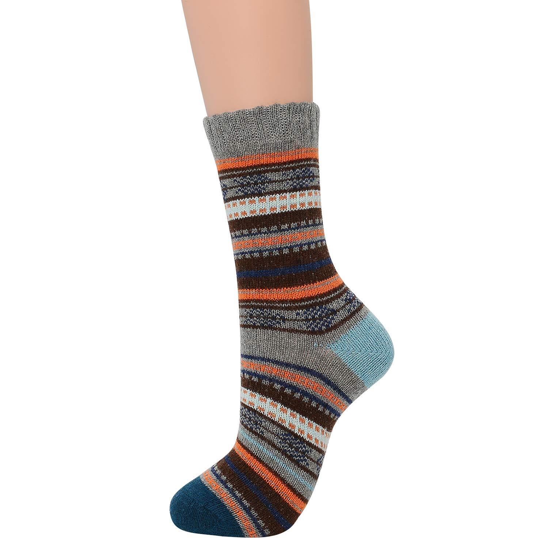Zando Womens Winter Vintage Soft Wool Sock Warm Mid Calf Socks Cozy Casual Mens Thick Cabin Sock
