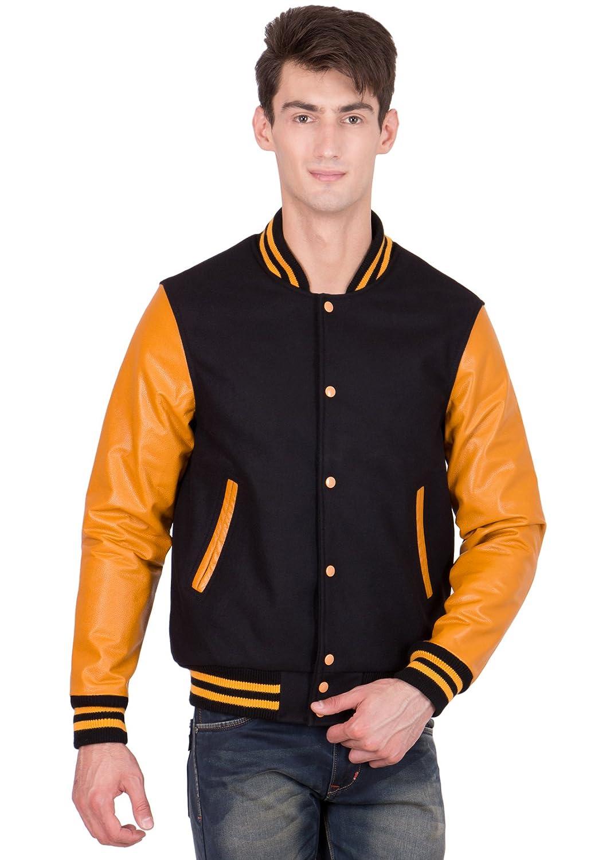 Caliber Apparels Light Gold Leather Sleeves & Black Wool Body Varsity Jacket-Men Cliber Apparels AMZPL218
