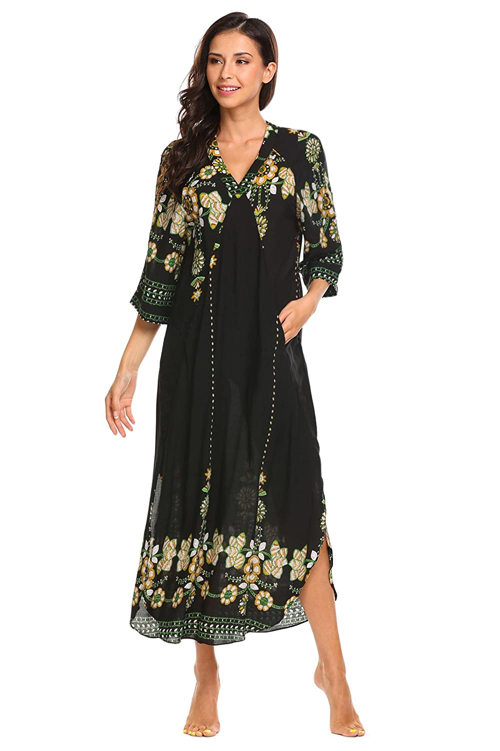 ADOME Women Nightdress Cotton Floral Printed Nightgown Maxi Dresses Pullover Loose Lounging Sleepwear With a Slit Up The Side