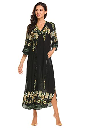 8ce9483c08 ADOME Women Nightdress Cotton Floral Printed Nightgown Maxi Dresses  Pullover Loose Lounging Sleepwear with a Slit