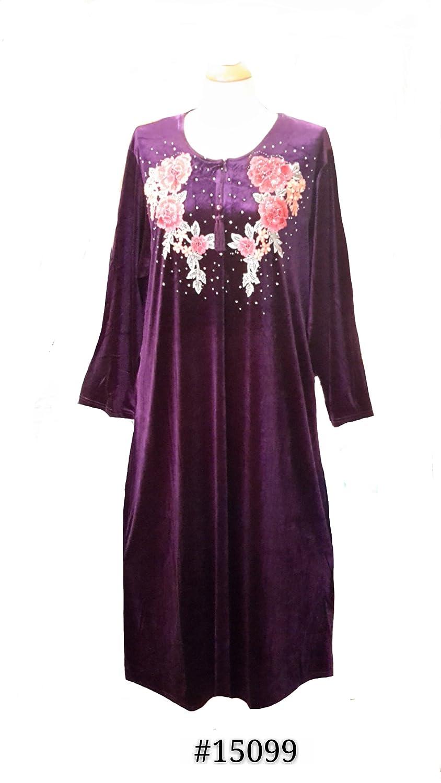 "Ladies Lavender Velvet Embroidery Long Kaftan/Dressing Gown (Satin Tassel). 10"" Zip with 2 Side Pockets. Size:- M/L/XL/XXL."