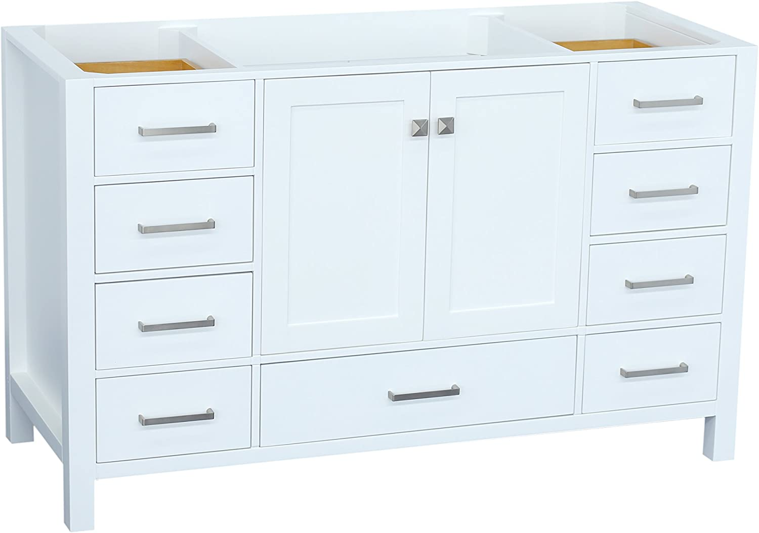 ARIEL Cambridge A055S-BC-WHT 54 Inch Single Solid Wood White Bathroom Vanity Base Cabinet with 2 Soft-Closing Doors and 9 Self-Closing Drawers