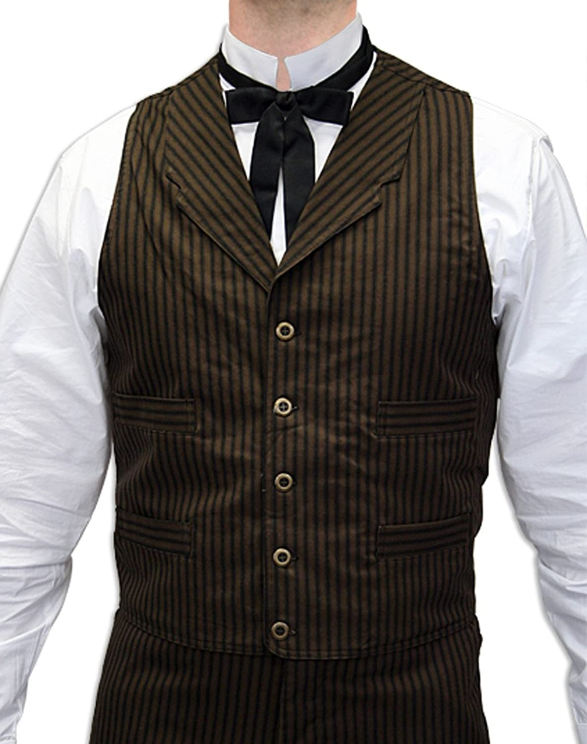 1900s Edwardian Men's Suits and Coats  Mens Ferndale Cotton Dress Vest $59.95 AT vintagedancer.com