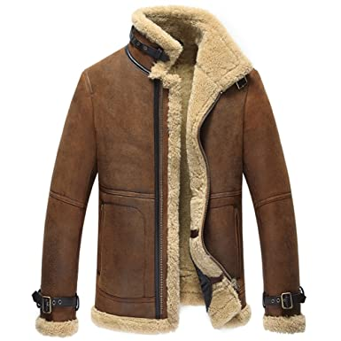 edd127e539d Mens Shearling Coat Men Aviator Jacket Pilot Jacket Mens Fur Coat B3  Sheepskin Outwear at Amazon Men's Clothing store:
