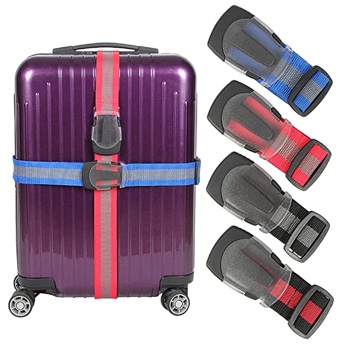 Luggage Straps Suitcase Belt TSA Approved With Adjustable Quick-release Buckle,Nonslip Travel Straps For Luggage, 4-Pack (Black)
